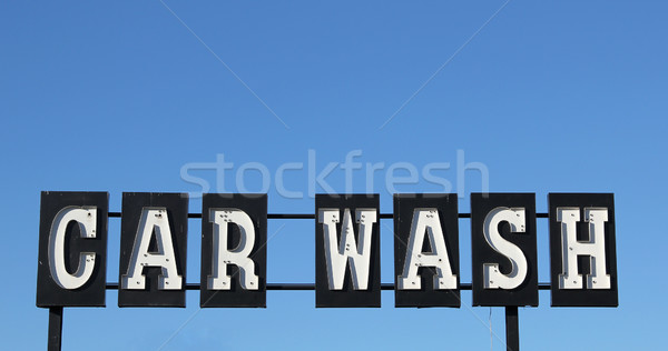 Car wash business auto metaal teken staal Stockfoto © pterwort