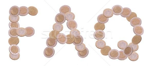 Faq geschreven munten witte business geld Stockfoto © pterwort
