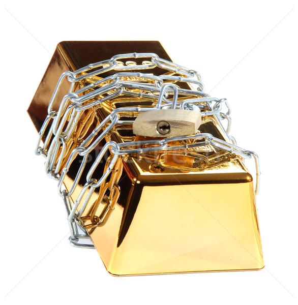 защищенный цепь замок белый золото Сток-фото © pterwort
