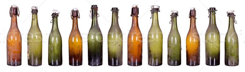 Oude stoffig flessen ontwerp achtergrond champagne Stockfoto © pterwort