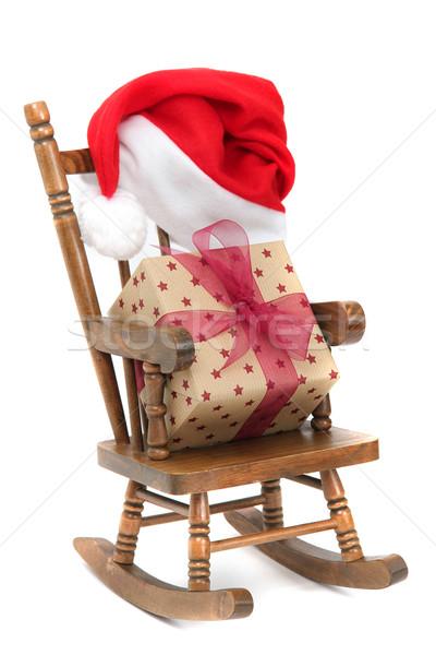Oude houten schommelstoel Rood gelei zak Stockfoto © pterwort