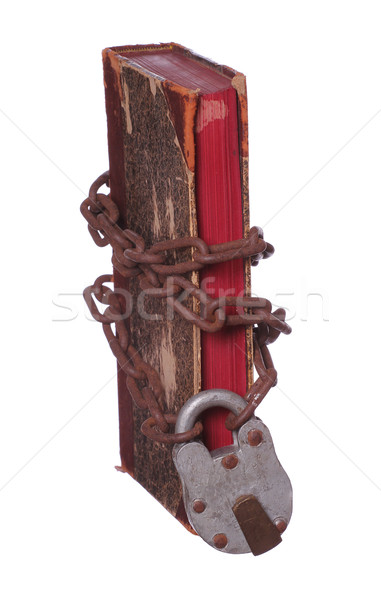 old book with rusty chain and padlock Stock photo © pterwort
