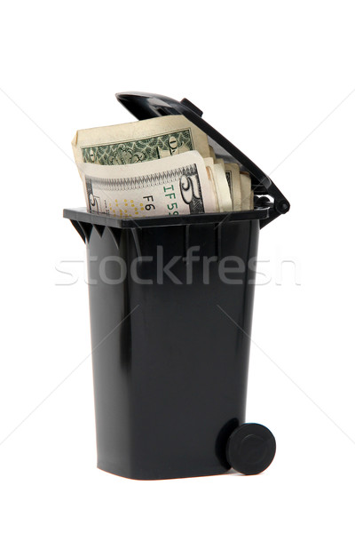 several bank notes in black rubbish bin on white Stock photo © pterwort