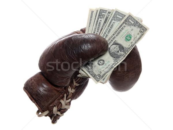 старые коричневый боксерская перчатка долларов белый деньги Сток-фото © pterwort