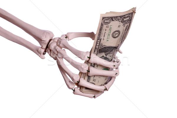 Pénz csontváz kéz papír pálma halál Stock fotó © pterwort