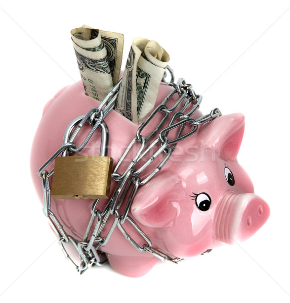 pink piggy bank with chain and padlock Stock photo © pterwort