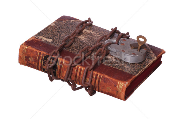 rusty chain and padlock on old book Stock photo © pterwort