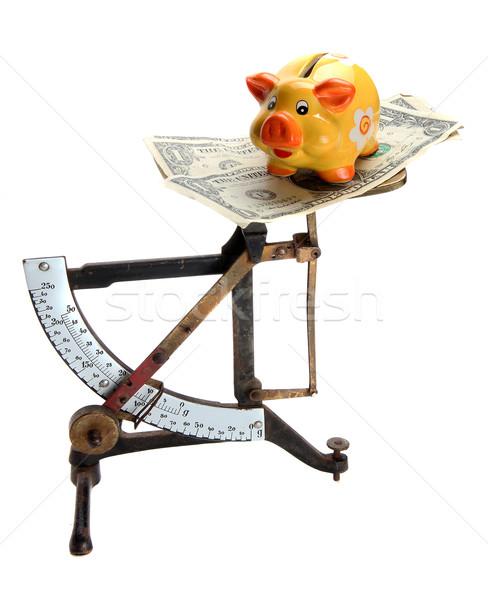 Mérleg dollár jegyzetek persely fehér pénz Stock fotó © pterwort