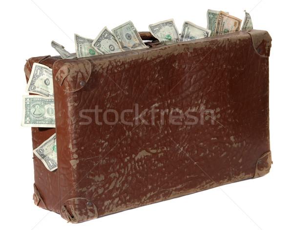 Oude bruin koffer bankbiljetten witte zomer Stockfoto © pterwort