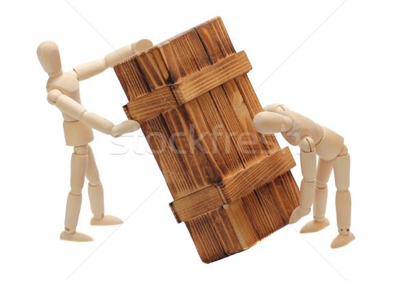 transportation of wooden box by dolls Stock photo © pterwort