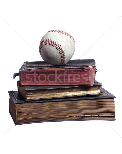 old baseball on old books Stock photo © pterwort