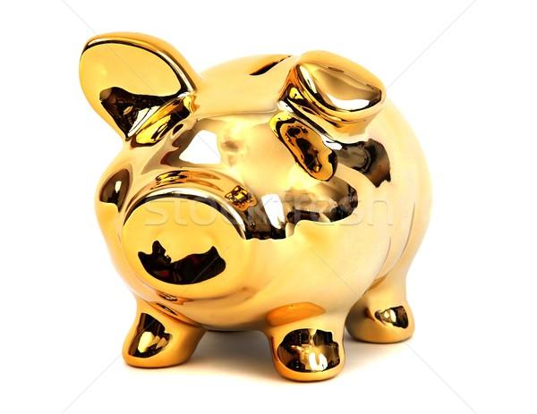 Briljant gouden spaarvarken bank varken Stockfoto © pterwort