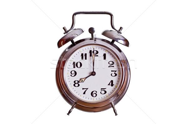 Stock fotó: óra · fém · idő · acél · fehér · számok