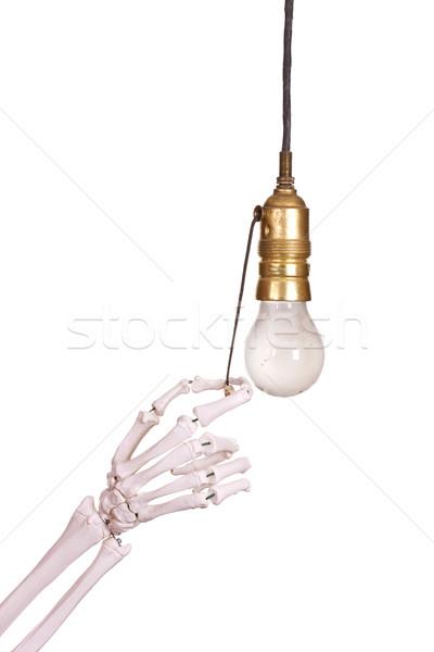 Edad enchufe esqueleto mano vidrio fondo Foto stock © pterwort