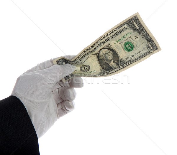 dollar note in hand with white glove Stock photo © pterwort