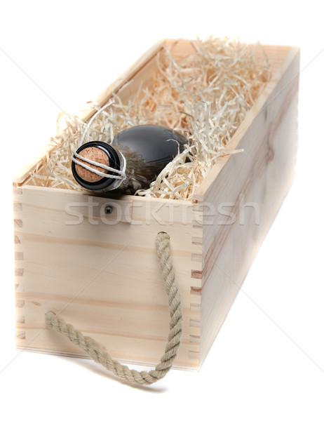 Champagne geval hout wol witte partij Stockfoto © pterwort