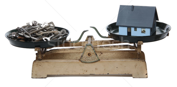 keys and home on old scale Stock photo © pterwort
