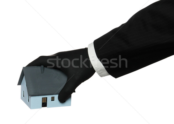 black rubber glove taking a house Stock photo © pterwort