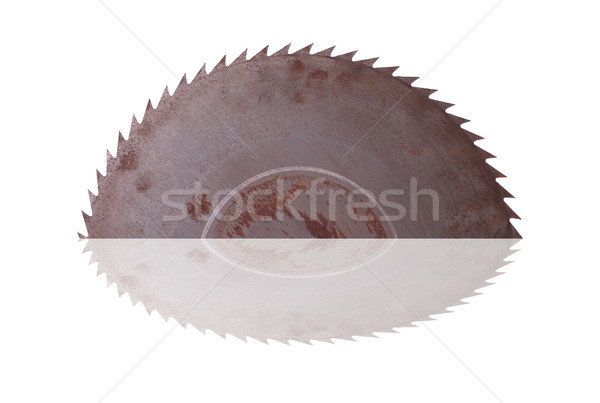 Oude roestige zag reflectie werk industrie Stockfoto © pterwort
