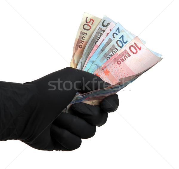 черный перчатка европейский банка отмечает белый Сток-фото © pterwort