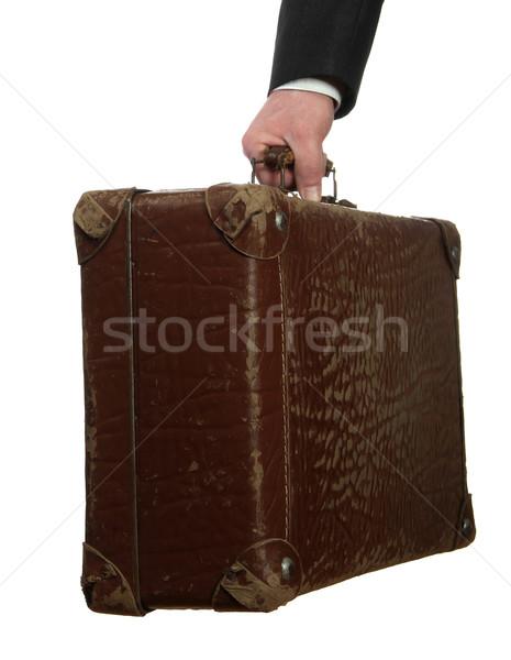 деловой человек старые чемодан белый бизнеса стороны Сток-фото © pterwort