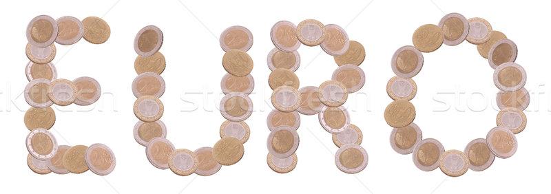 евро написанный монетами белый бизнеса деньги Сток-фото © pterwort