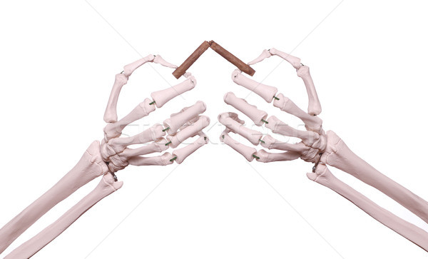 Esqueleto mãos quebrado charuto saúde fumar Foto stock © pterwort