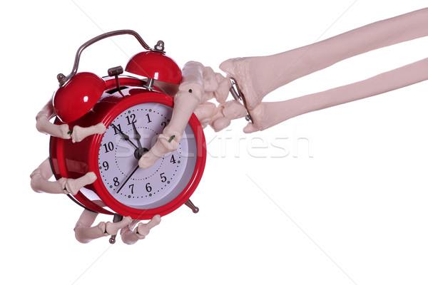 skeleton hand holding red alarm bell Stock photo © pterwort