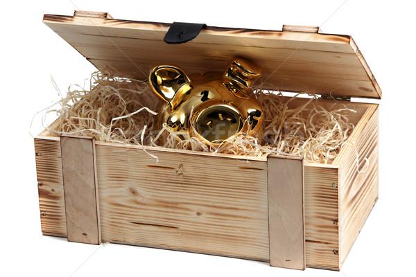 piggybank in wooden box with wood-wool Stock photo © pterwort