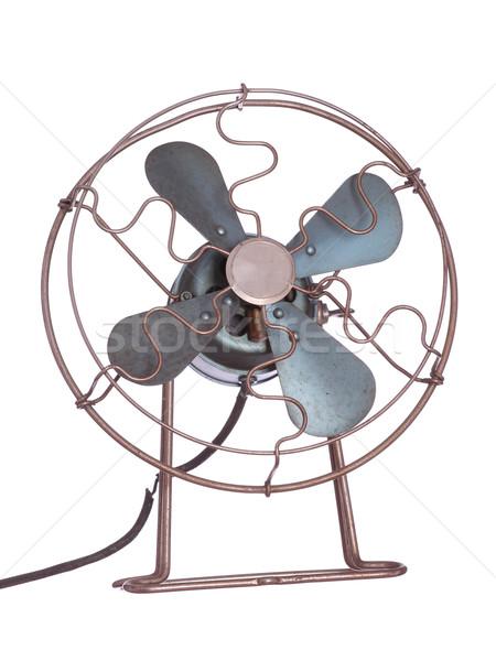 Oude ventilator zwarte witte elektriciteit cool Stockfoto © pterwort