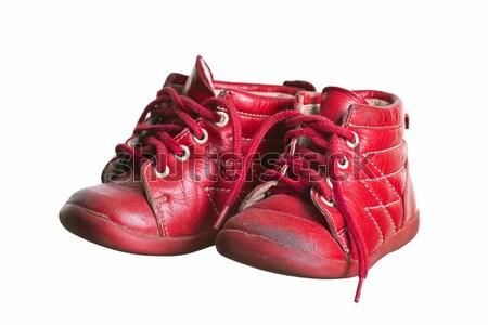 Edad rojo utilizado zapatos de bebé bebé moda Foto stock © pterwort