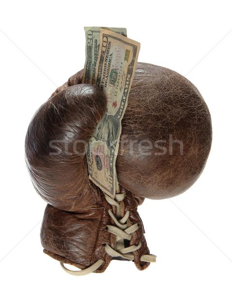 боксерская перчатка зеленый назад белый деньги спорт Сток-фото © pterwort