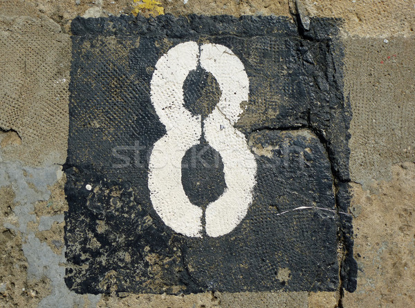 8 - weathered number on old stone Stock photo © pterwort