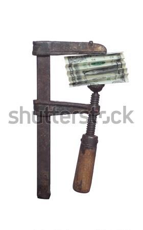 Stock photo: dollar under pressure in clamp