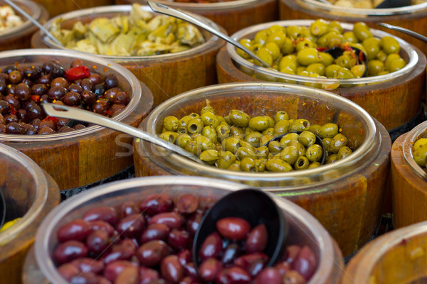 Antipasti olives bois bols marché nature Photo stock © pterwort