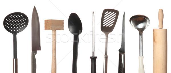 Zestaw sprzęt kuchenny biały grupy gotować obiektu Zdjęcia stock © pterwort