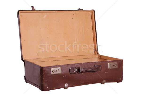 старые коричневый чемодан бизнеса окна Сток-фото © pterwort
