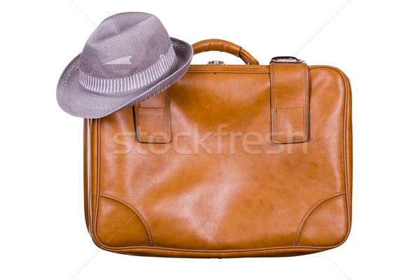brown suitcase with hat Stock photo © pterwort