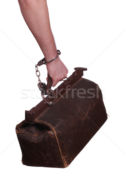old bag protected with handcuff Stock photo © pterwort