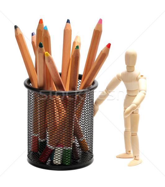 Fából készült baba ceruzák ketrec test festék Stock fotó © pterwort