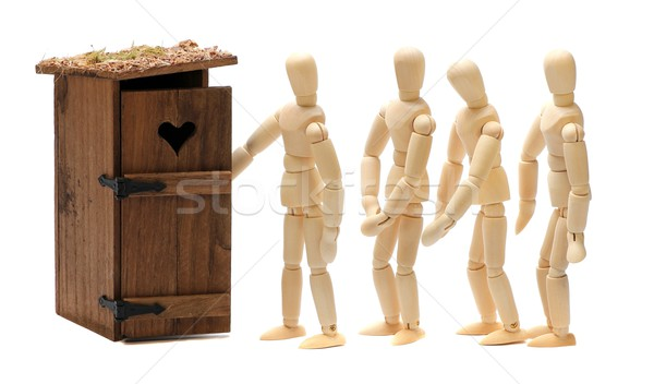 wooden dolls waiting for toilet Stock photo © pterwort