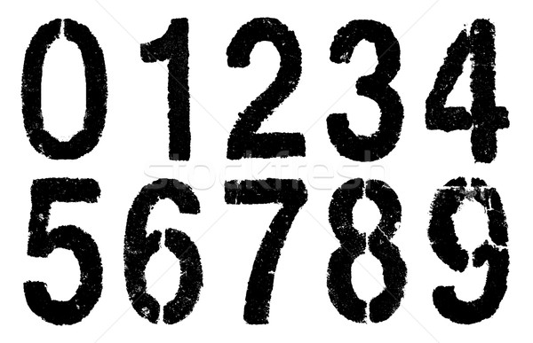 Stock photo: black numbers 0-9 on white