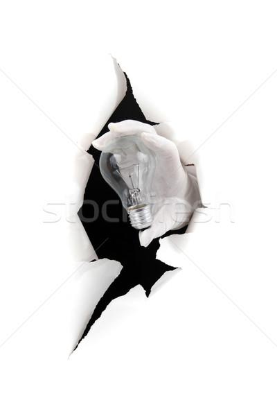 áttörés fény kéz tart villanykörte fehér Stock fotó © pterwort