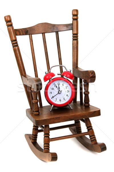 Oude houten schommelstoel Rood alarm bel Stockfoto © pterwort