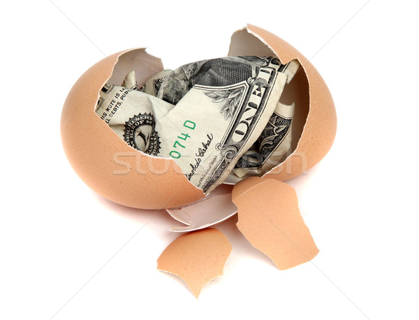 eggshell with one dollar bank note Stock photo © pterwort