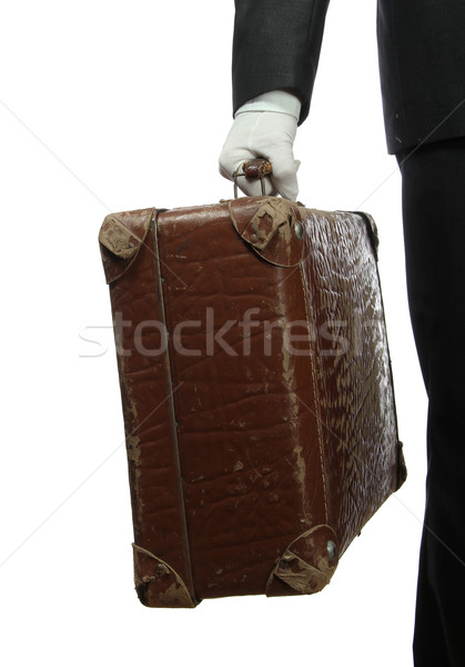 butler with white glove and old suitcase Stock photo © pterwort