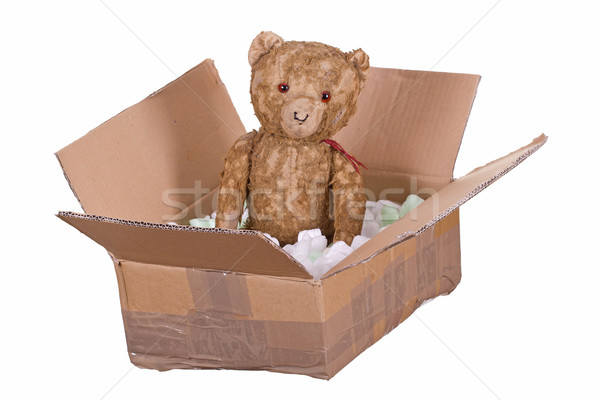 Plüssmaci kartondoboz játék medve fehér házhozszállítás Stock fotó © pterwort