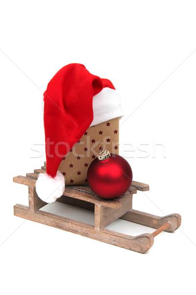 christmas gift on sledge Stock photo © pterwort