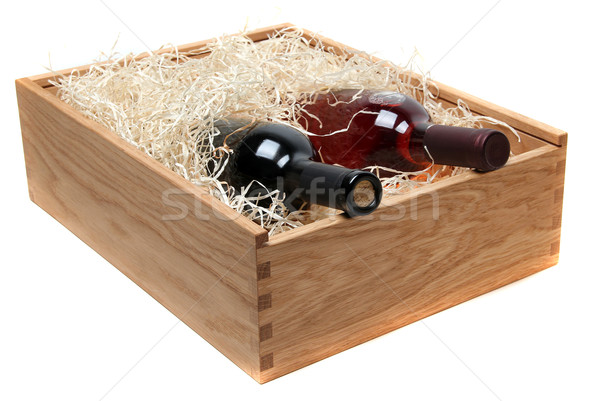 two wine bottles in wooden case with wood-wool Stock photo © pterwort