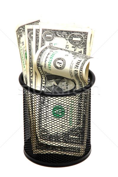 деньги мусорное ведро металл безопасности банка мусор Сток-фото © pterwort